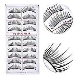False Eyelash, 20pcs Fake Eyelashes Reusable 3D Handmade False Eyelashes Set for Natural Look with False Lashes Applicator