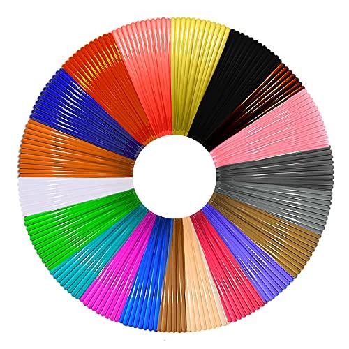 CCopnts 3D Penna Filamento Ricarica PLA 20 Colori,5M Ogni Colore, Totale 100m 328FT -1.75mm PLA Fliament Set per la Stampa 3D, 3D Stampante