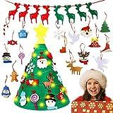 TATAFUN Fieltro Árbol de Navidad DIY con 18pcs Ornamentos Desmontables Adornos Árbol de Navidad 3D con 1 Piezas Banner de Navidad para Niños Decoración de la Pared de la Puerta del Hogar