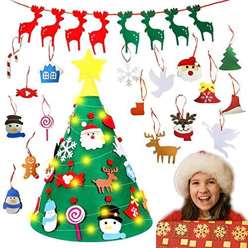 TATAFUN Albero di Natale in Feltro DIY con 18 Pezzi Ornamenti Staccabili, 3D Alberi Natale Rimovibili con 1 Pezzo Banner, Natale Decorazioni Natalizie da Parete per Porte di Casa Regalo per Bambini