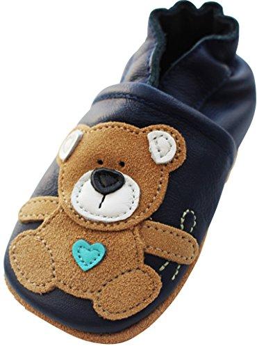Engel und Piraten Krabbelschuhe MARKENQUALITÄT - VIELE Modelle bis 4 Jahre Babyschuhe Leder Lauflernschuhe Lederpuschen (26/27 EU, Teddy Boy)