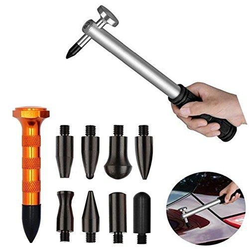 GS, 10-teiligesKarosserie-Reparatur-Set, Werkzeuge zum Ausbeulen und Dellen-Entfernen ohne Lackierung, Aluminium-Hammer mit auswechselbaren Spitzen