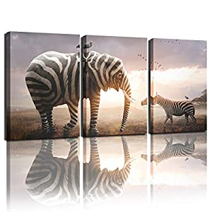 Bathroom Wall Art Elephant Zebra Decoration Painting Printing Animal Picture Painting Living Room Bedroom Home Decoration Wall Decoration Stretching Artwork (12x16 inches x3)