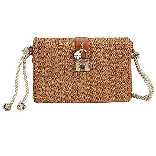 Van Caro Women¡¯s Straw Summer Beach Purse Hand Woven Crossbody Shoulder Bag, Brown