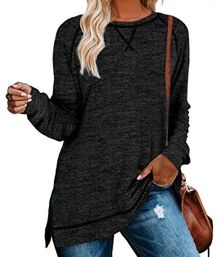 QAKEHU Damen Farbblock Langarmshirt Casual Locker Langarm Tunika T Shirt Patchwork Pullover Oberteile Black XL