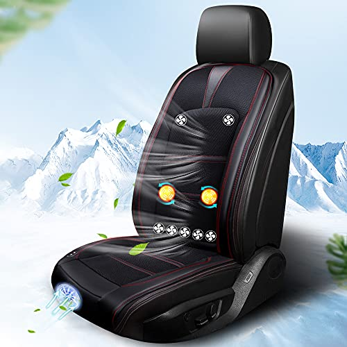 Dancai クールシート カーシートカバー 8個強力ファン 冷風送風 3段階調節 シートクッション マッサージ 機能搭載 自動起動/停止機能付き DC12V 熱中症対策 夏 暑さ対策 日本語説明書付き (黒い)