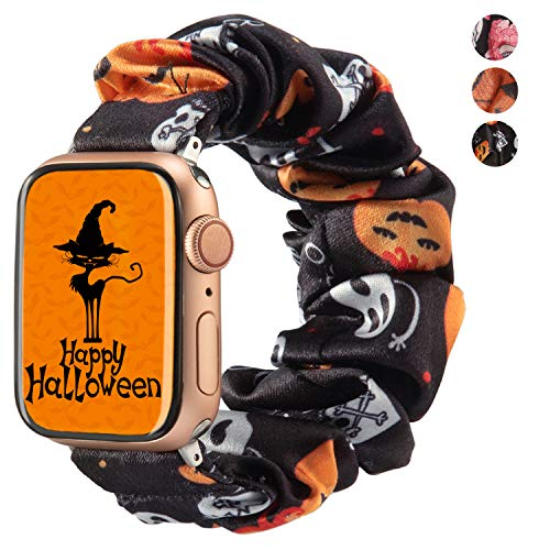 TOYOUTHS Halloween Decorations Band Compatible with Apple Watch Band Scrunchies 38mm Cloth Soft Pattern Printed Fabric Bracelet Women IWatch Cute Elastic Scrunchy Bands 40mm Series 5 4 3 2 1, Black
