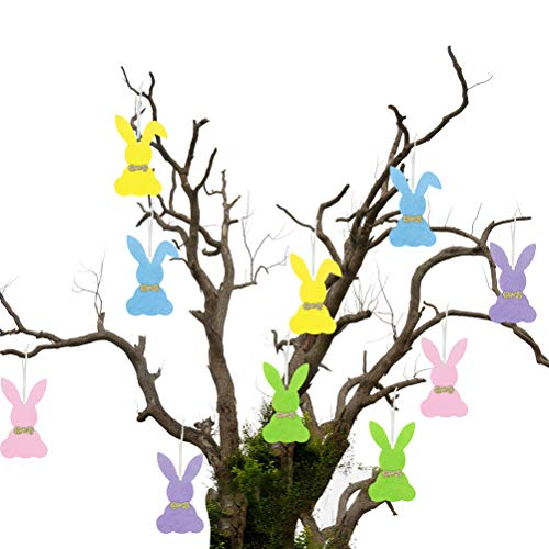 Osuner Ciondolo con Coniglio in Feltro Accessori per Decorazioni pasquali per Decorazioni Scolastiche per Feste in casa (Colore Casuale)