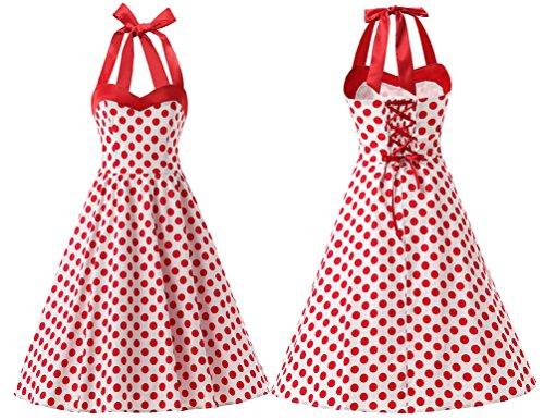 DRESSTELLS Vintage 1950s Rockabilly Polka Dots Audrey Dress Retro Cocktail Dress White Red Dot XS