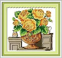 クロスステッチ キット、大人の初心者 刺繍 手芸用品、バラの花瓶、11CT 手芸 プリント刺繡 図柄印刷 初心者 刺繍糸 針 布 家の装飾 壁の装飾 40×50cm