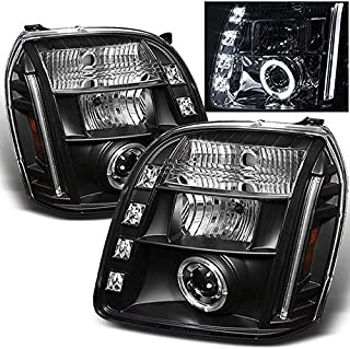 For GMC Yukon Denali SUV Black Bezel Dual Halo LED Projector Headlights Front Lamps Replacement Pair