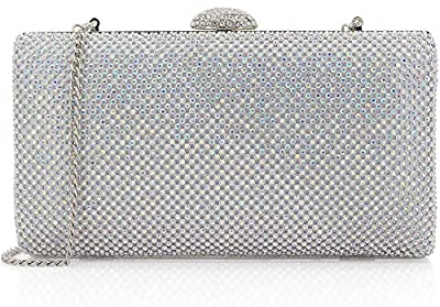 Dexmay Large Rhinestone Crystal Clutch Evening Bag Women Formal Purse for Cocktail Prom Party
