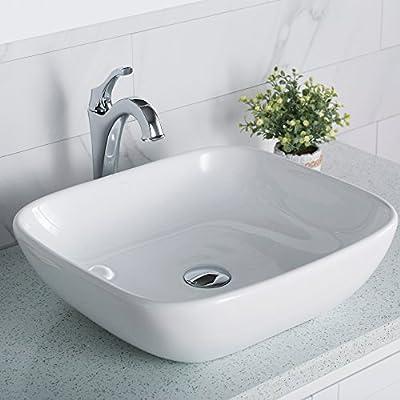 Kraus KCV-127 Elavo Square Vessel Porcelain Ceramic Bathroom Sink, 18 inch, White