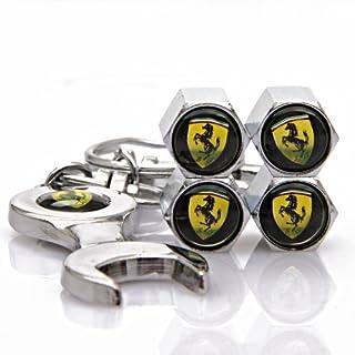 Automaze Tyre Valve Caps for Cars   SJ Ferrari Chrome Colour, Tire Air Stem Caps   for All Cars