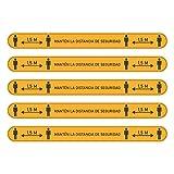 Pack 5 Vinilos Señalización Distancia Social 1,5m   Franjas Adhesivas de Distancia de Seguridad para suelo   Vinilo Medidas de Protección (NARANJA)