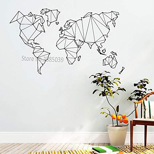Ajcwhml Wohnzimmer Schlafzimmer Vinyl globus Aufkleber wohnkultur entfernbares wandetikett heiße abstrakte Karte Welt geo wandaufkleber 114 cm x 65 cm