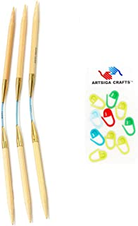 addi Knitting Needles FlexiFlips Double Pointed Natura Bamboo Skacel Exclusive Blue Cord 8 inch (20cm) (Set of 3) Size US 2.25mm Bundle with 10 Artsiga Crafts Stitch Markers