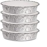 Paquete de 4, sartenes de aluminio de 9 pulgadas redondas con tapas, aptas para el congelador y el horno, de aluminio desechable ~ para hornear, cocinar, almacenar y recalentar