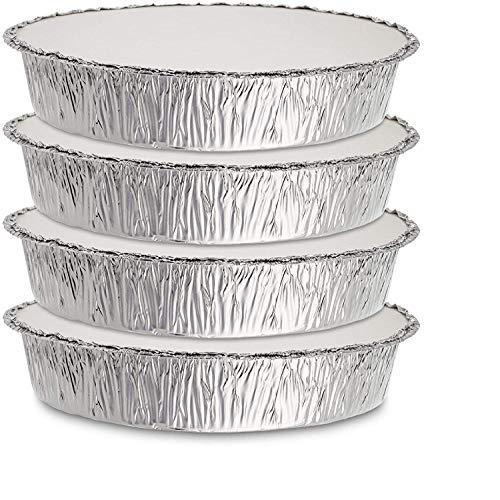 Confezione da 4 teglie rotonde in lamina di latta con coperchi ~ in alluminio usa e getta ~ per cuocere, cucinare, conservare e riscaldare