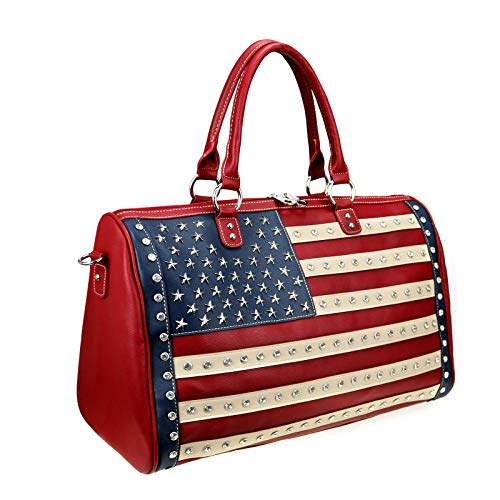 Montana West American Flag Travel Duffle Bags Gym Bag For Women Men Large Leather Sport Bag Red US+04-5110 RD
