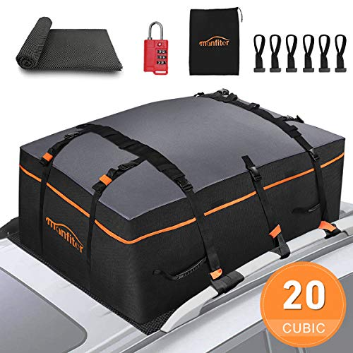 Rooftop Cargo Carrier Car Top Carrier, 20 Cubic Feet 100% Waterproof Car Roof Bag, Roof Rack Cargo Carrier with Anti-Slip Mat + 10 Reinforced Straps Fits All Vehicle with/Without Rack