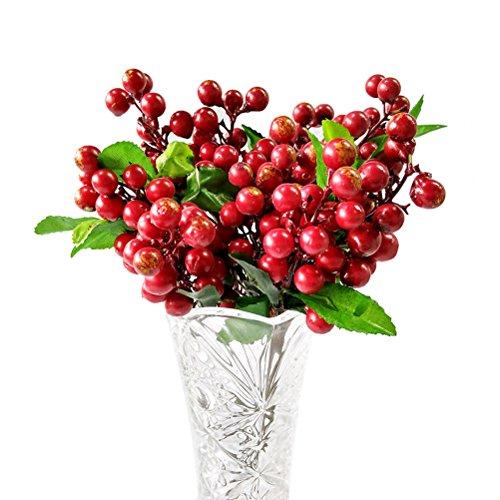 Winomo Mini-Beeren wie das künstliche Leben, künstliche Kunstpflanzen, dekorativ rot