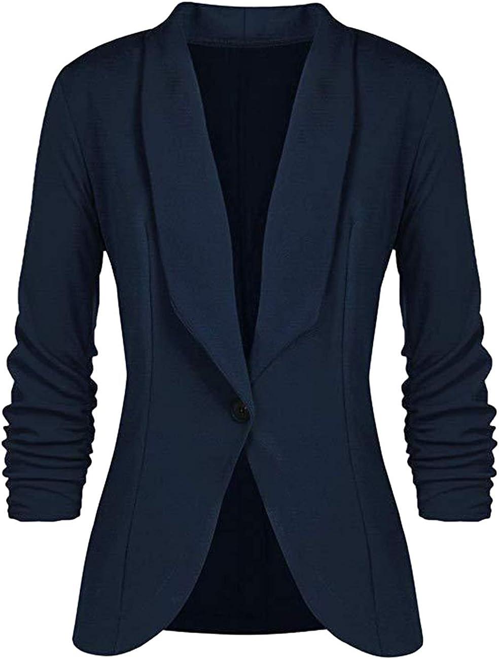 HeLov Women 1 Button Velvet Blazer Coat Slim Fit Casual Lapel Office Jacket Suit