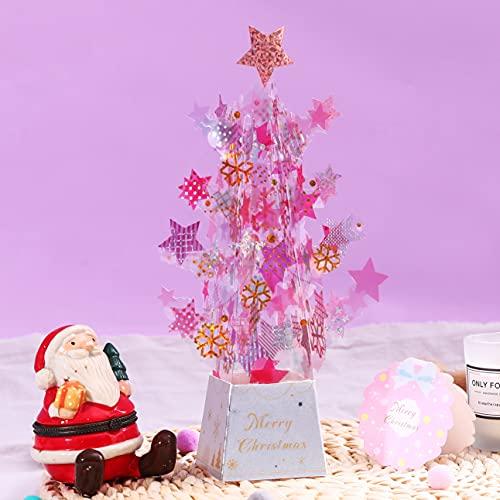 "Paper Spiritz 「クリスタルクリスマスツリー」クリスマスポップアップカード、クリスマスカード 立体 和風 本、Christmas Card | ピンクゴールド 6""×9''"
