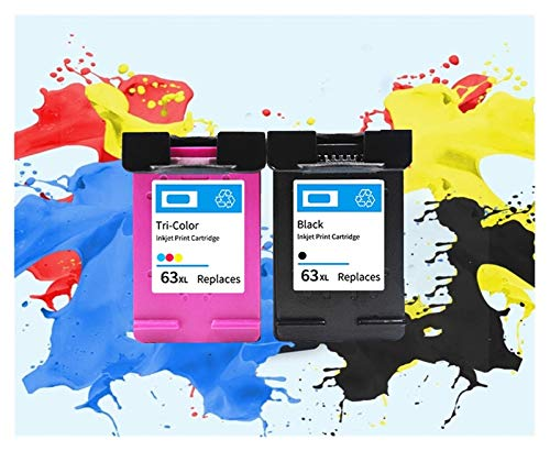 TZZD Cartuchos de tinta 63 63XL compatibles con impresoras HP 63 XL Deskjet 1110 1112 2130 2131 2132 2133 2134 3630 (color: 1 juego)
