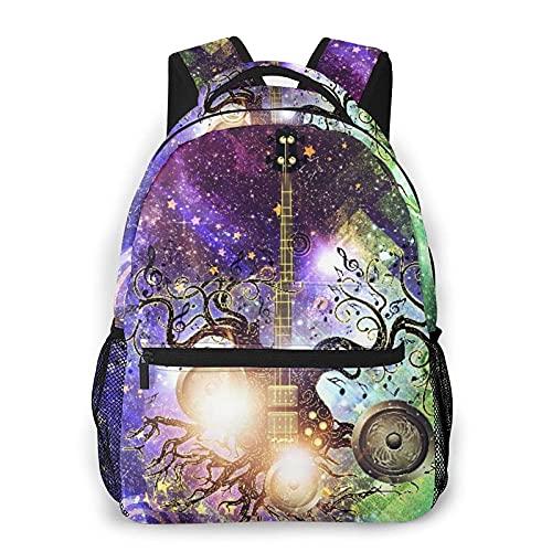 QQIAEJIA Casual Zaino,Modern Glowing Music Poster With Guitar,Business Zainetto Schoolbag For Men Women Teen