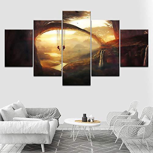 Wjdymx canvasdruk kunst afbeeldingen woonkamer decoratie kinderen poster modern 5 panelen Fantasy World zonsondergang schommel muur Hd afdrukken schilderij