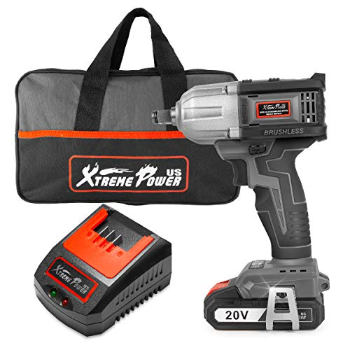XtremepowerUS 20V Cordless Impact Wrench, 1/2-inch, 450Nm Max Torque, 2.0Ah Li-ion Battery with Fast Charger, Belt Clip Tool Bag