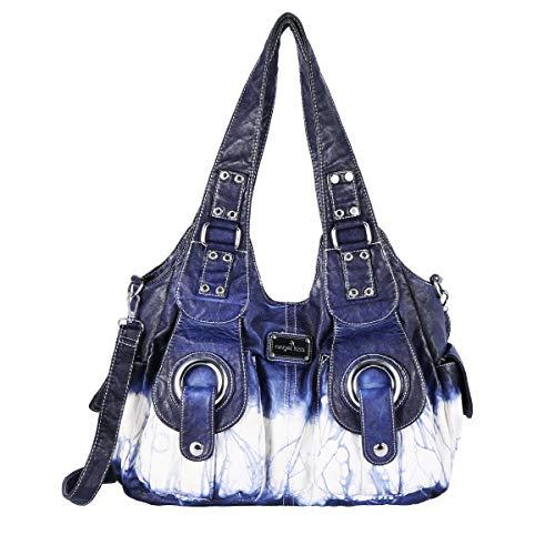 angel kiss Damen Handtasche Lässige Schultertasche Umhängetaschen Hobo Taschen Henkeltaschen Leder für Arbeit Schule Shopper (XS160191Z-Blau)