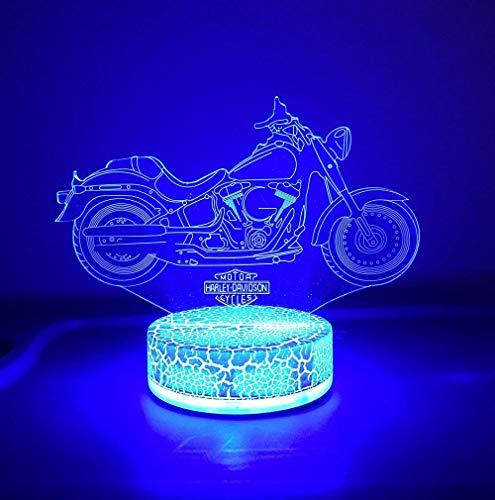 Motocicleta Harley DavidsonLuz de la Noche del 3D, LED Lámpara de Mesa de Cabecera 16 colores de dormir con el botón de tacto inteligente Lindo regalo de calentamiento Decoración creativa ideal