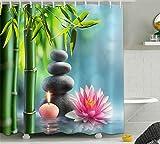 LB Duschvorhang Zen Spa 240x175cm Grüner Bambusrosa Lotus Bad Vorhang mit Haken Extra Breit Polyester Wasserdicht Antischimmel Badezimmer Gardinen