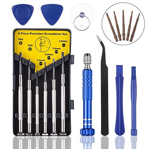 Tiiduo 17 in 1 Precision Screwdriver Set, Professional Small Screwdrivers Eyeglass Repair Kit, Suitable for Mobile Phone Glasses Watch Jewelers Laptop DIY Projects Repair Screwdriver Set