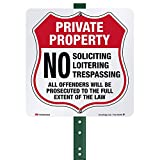 SmartSign Private Property Yard Sign, No Trespassing Soliciting Loitering Sign, Offenders Prosecuted Sign for Lawn | 10' Square 3M Reflective Aluminum Metal, For Outdoors