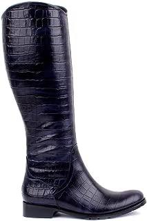 Sail Lakers - Lacivert Deri Croco Desenli Kadın Çizme