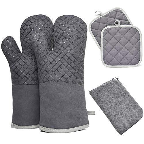 Ofenhandschuhe, 300℃ Hitzebeständige Lange Topfhandschuhe und Topflappen Set Hitzebeständige Silikon und Baumwolle Silikon Anti-Rutsch Design Grau