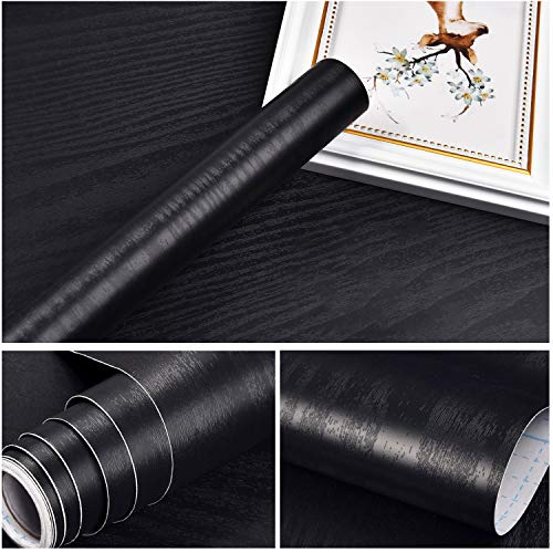 Symoden Black Wood Wallpaper 17.71' x 118' Black Wood Contact Paper Peel and Stick Wallpaper Self-Adhesive Removable Wood Grain Wallpaper for Furniture Shelf Liner Drawer Liner