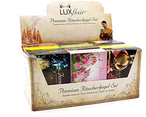 Luxflair Premium cône à fumer/bougies à fumer mélange 12 x 20 pièces dans le paquet en vrac XXL. Classique, fleuri, fruité, fruité, de Noël, emballage économique avec porte-cône