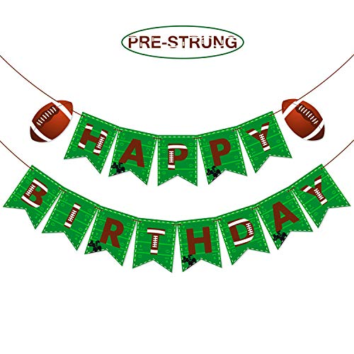 Pre-Strung Football Birthday Party Decoration Sports Themed Happy Birthday Party Bunting Banner for Football Party Supplies