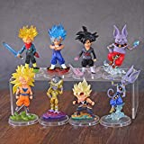 kyman 8pcs / Set Dragon Ball Super Freeza Son Goku Trunks Beerus WCF Figure d'azione Anime Dragon Ball Z Figurine Modello Giocattolo 8cm