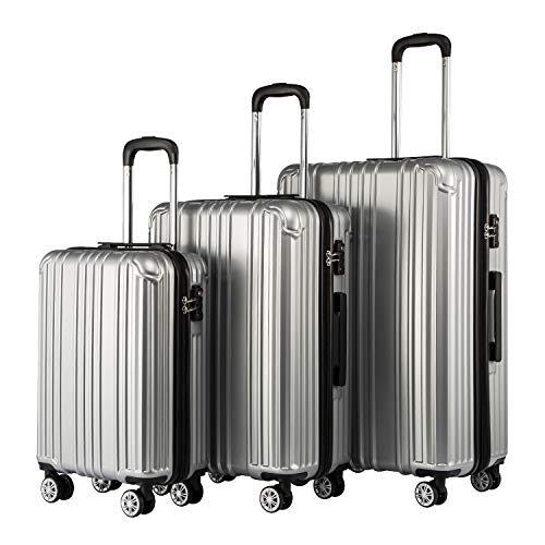 COOLIFE Expandable Suitcase(Only L Size Expandable) Hardshell Luggage Lightweight Durable PC+ABS Material with TSA Lock and 4 Spinner Wheels (Silver, 3-Piece Set)