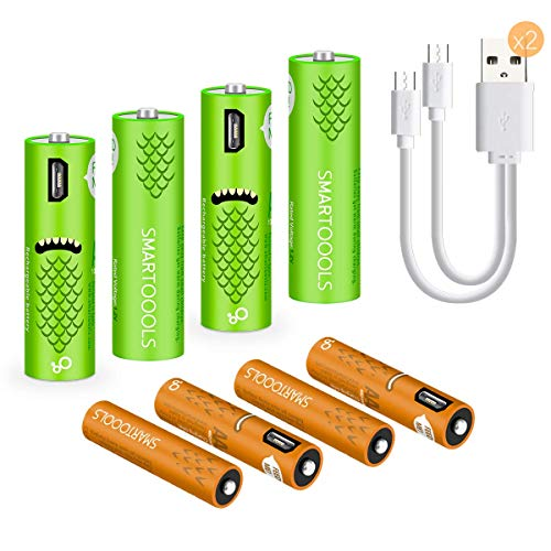 USB Rechargeable AAA Batteries,450mAh AAA Batteries with USB Ports - High-Capacity Batteries Long-Lasting Power Recyclable Recharge Battery -4pack