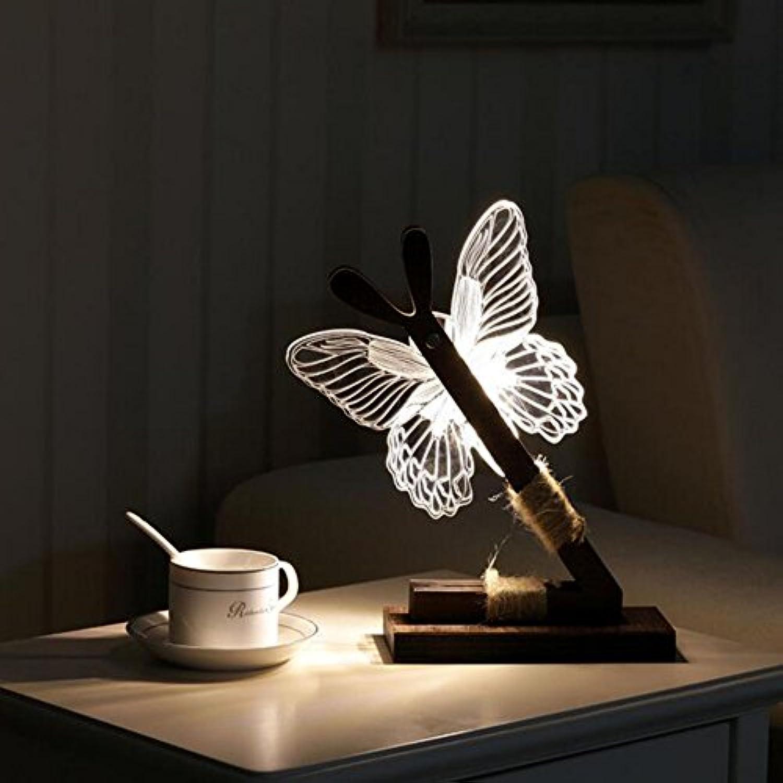 Kreativ Schreibtisch Lampe Schlafzimmer Nachttisch Lampe Schmetterling LED Augenpflege Acryl Holz Modern Einfache 3D Nacht Licht