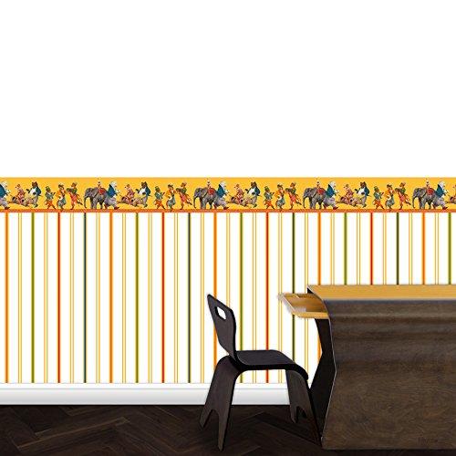 Lustig bunte Streifentapete Au Cirque - Vlies Tapete Streifen - Klassische Wanddeko - GMM Design Tapete - Wandtapete - Wand Dekoration für edle Wohnakzente (Höhe 2,6m Breite 46,5cm)