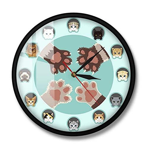 JKLMZYT Reloj de Pared de Dibujos Animados de Diferentes Razas de Gatos para Tienda de Mascotas Veterinaria Reloj de decoración del hogar Reloj de Pared con Movimiento silencioso-30X30cm