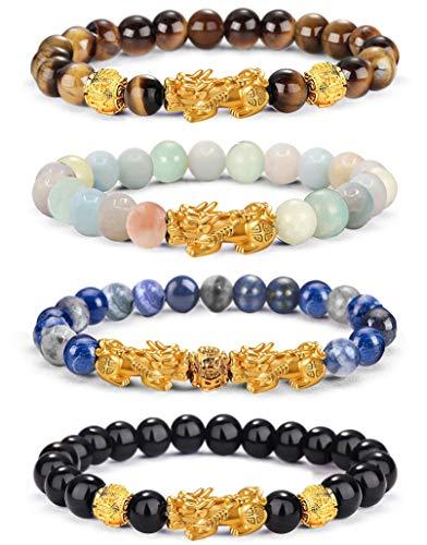 EIELO Feng Shui Pixiu Good Luck Bracelets for Men Women Natural Gemstone Healing Energy Obsidian Pi Yao Dragon Charm Beaded Bracelet Attach Wealth Money Jewelry 10MM