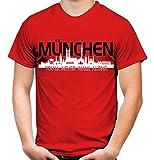 München Skyline Männer und Herren T-Shirt | Fussball Ultras Geschenk | M2 (L, Rot)